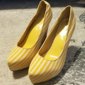 Yellow and White stripped chunky heels